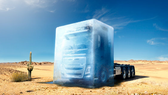 Volvo FH16 packed in ice in the dessert