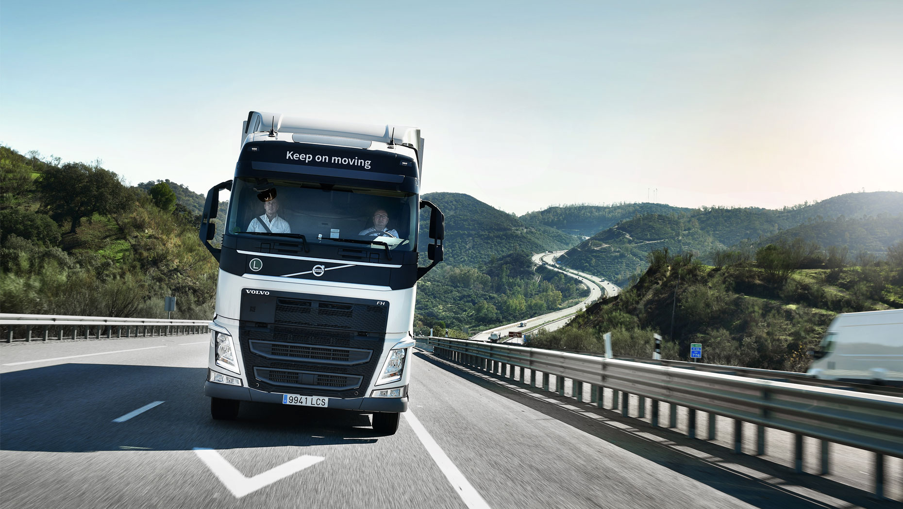 A Volvo FH with I-Save driving on the road