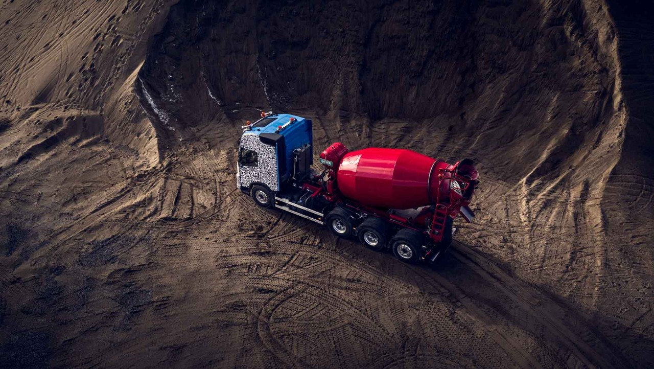 The new Volvo FMX equipped with a concrete mixer