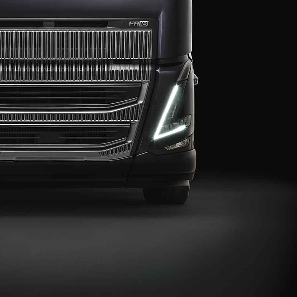 Close-up of Volvo FH16 headlamp